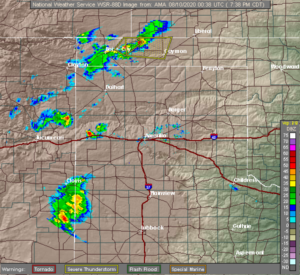 Radar Image for Severe Thunderstorms near Elkhart, KS at 8/9/2020 7:41 PM CDT