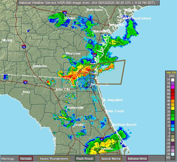 Radar Image for Severe Thunderstorms near Kingsland, GA at 8/9/2020 8:42 PM EDT