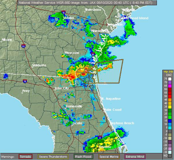 Radar Image for Severe Thunderstorms near Jacksonville, FL at 8/9/2020 8:47 PM EDT