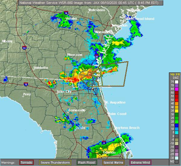 Radar Image for Severe Thunderstorms near Kingsland, GA at 8/9/2020 8:49 PM EDT