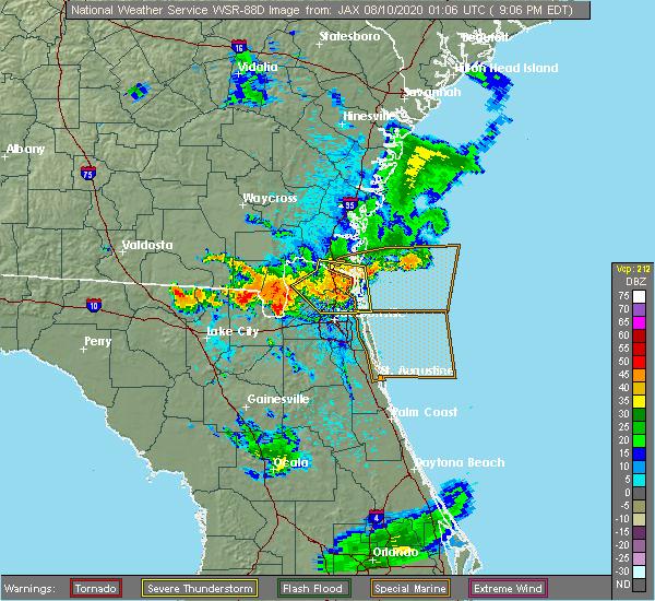 Radar Image for Severe Thunderstorms near Jacksonville, FL at 8/9/2020 9:15 PM EDT