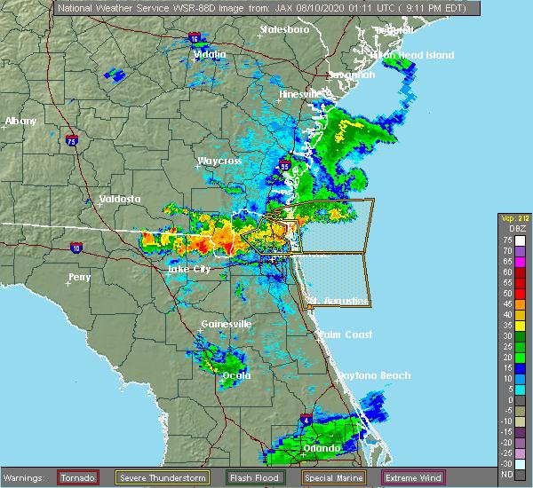 Radar Image for Severe Thunderstorms near Jacksonville, FL at 8/9/2020 9:23 PM EDT
