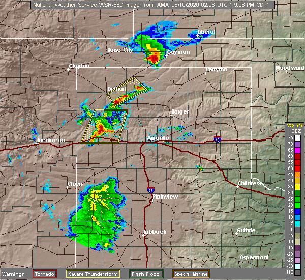 Radar Image for Severe Thunderstorms near Optima, OK at 8/9/2020 9:23 PM CDT