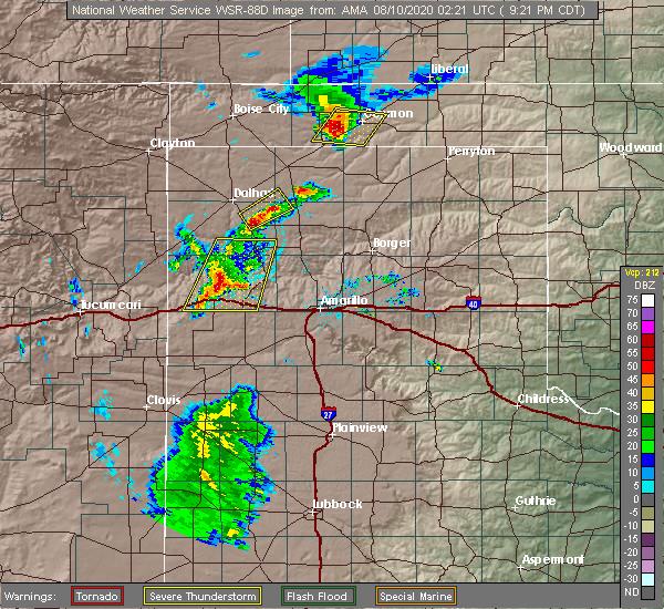 Radar Image for Severe Thunderstorms near Vega, TX at 8/9/2020 9:27 PM CDT