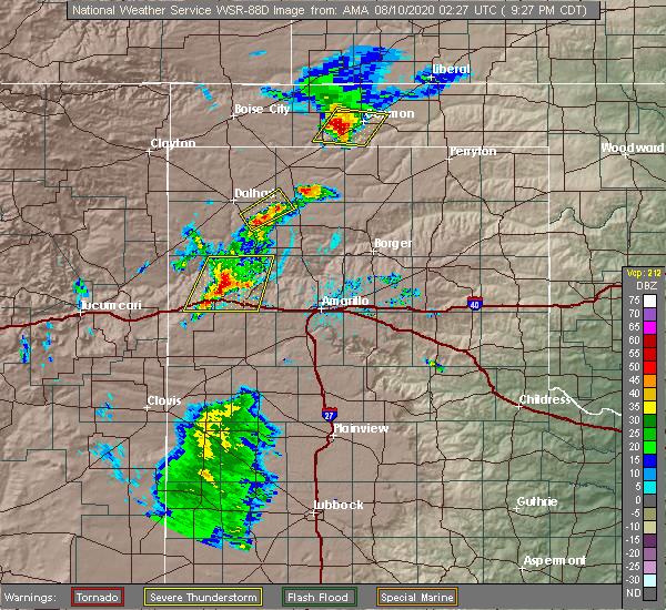Radar Image for Severe Thunderstorms near Vega, TX at 8/9/2020 9:31 PM CDT