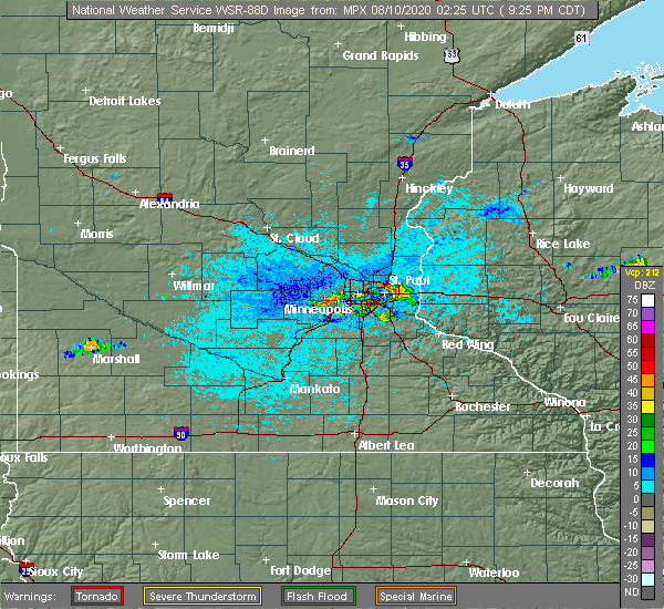 Radar Image for Severe Thunderstorms near Shakopee, MN at 8/9/2020 9:33 PM CDT