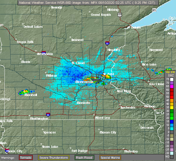 Radar Image for Severe Thunderstorms near Shakopee, MN at 8/9/2020 9:37 PM CDT