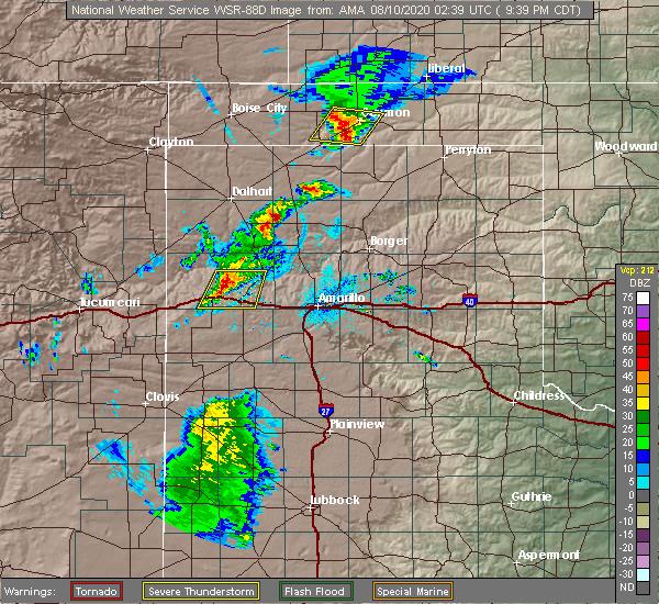 Radar Image for Severe Thunderstorms near Vega, TX at 8/9/2020 9:41 PM CDT