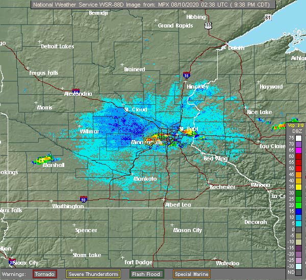 Radar Image for Severe Thunderstorms near Richfield, MN at 8/9/2020 9:42 PM CDT
