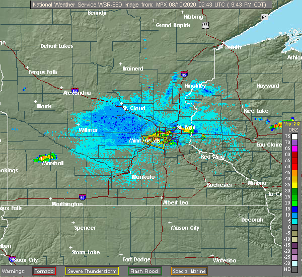 Radar Image for Severe Thunderstorms near Shakopee, MN at 8/9/2020 9:48 PM CDT