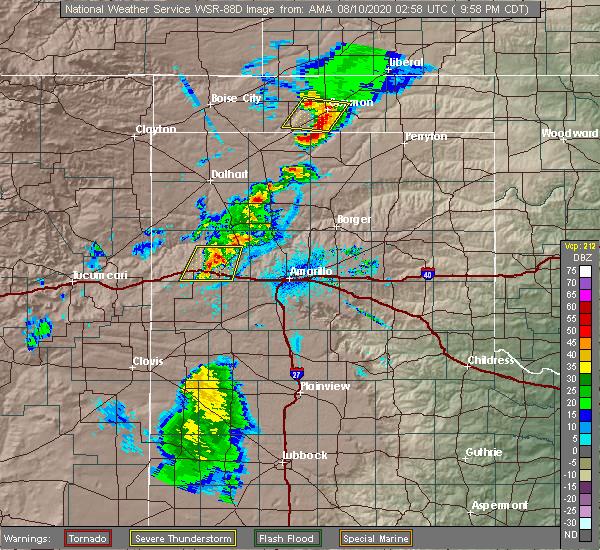 Radar Image for Severe Thunderstorms near Optima, OK at 8/9/2020 10:01 PM CDT