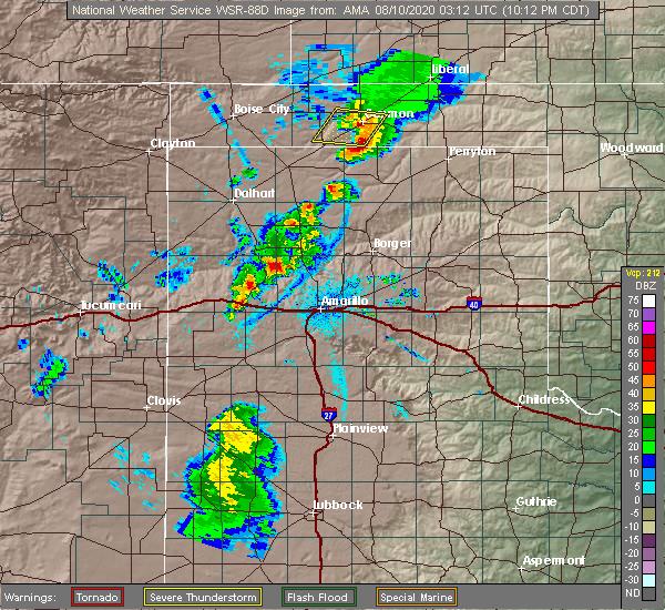 Radar Image for Severe Thunderstorms near Spearman, TX at 8/9/2020 10:17 PM CDT