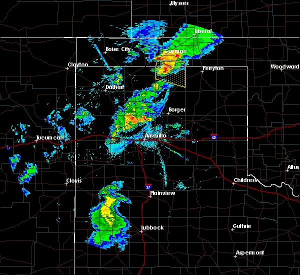 Radar Image for Severe Thunderstorms near Spearman, TX at 8/9/2020 10:35 PM CDT