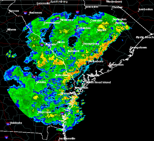 Radar Image for Severe Thunderstorms near Edisto Beach, SC at 7/2/2015 7:12 PM EDT