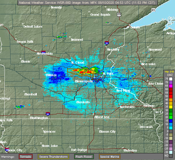 Radar Image for Severe Thunderstorms near Greenfield, MN at 8/9/2020 11:59 PM CDT