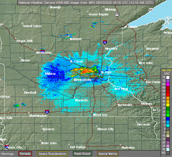 Radar Image for Severe Thunderstorms near Greenfield, MN at 8/10/2020 12:22 AM CDT