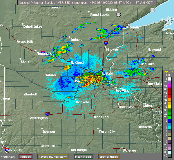Radar Image for Severe Thunderstorms near Richfield, MN at 8/10/2020 2:00 AM CDT