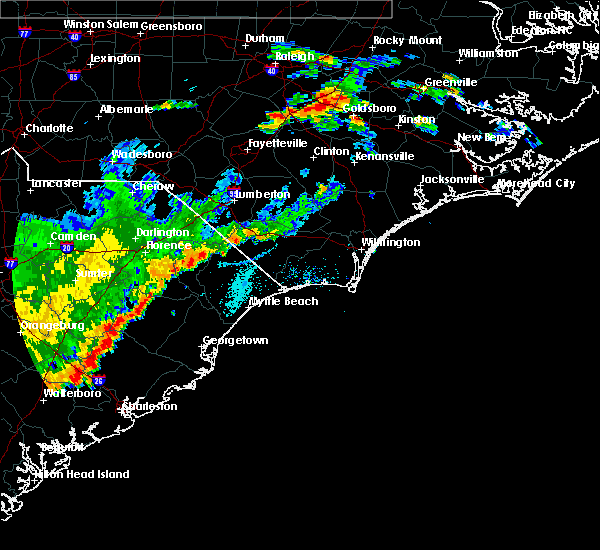 Radar Image for Severe Thunderstorms near Mullins, SC at 7/2/2015 7:15 PM EDT
