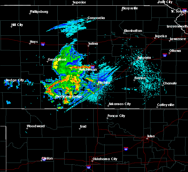 Radar Image for Severe Thunderstorms near Kingman, KS at 8/10/2020 4:04 AM CDT