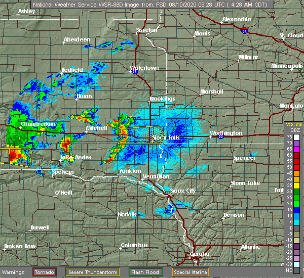 Radar Image for Severe Thunderstorms near Colton, SD at 8/10/2020 4:30 AM CDT