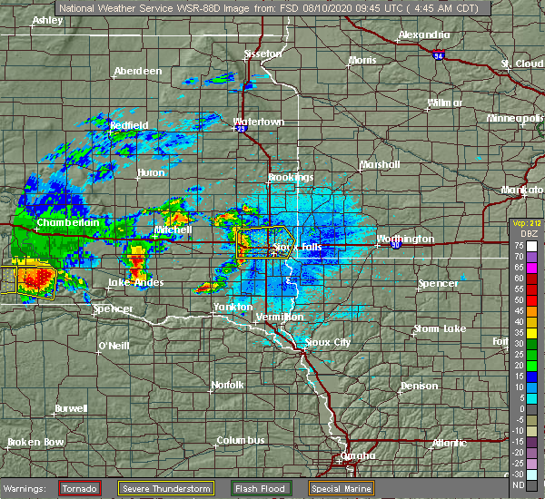 Radar Image for Severe Thunderstorms near Sioux Falls, SD at 8/10/2020 4:46 AM CDT