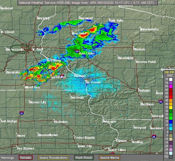 Radar Image for Severe Thunderstorms near Plainview, MN at 8/10/2020 5:24 AM CDT