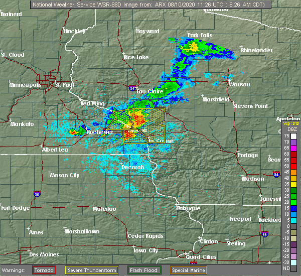 Radar Image for Severe Thunderstorms near Hokah, MN at 8/10/2020 6:29 AM CDT