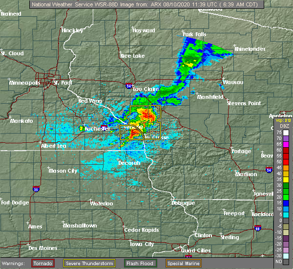 Radar Image for Severe Thunderstorms near Hokah, MN at 8/10/2020 6:40 AM CDT
