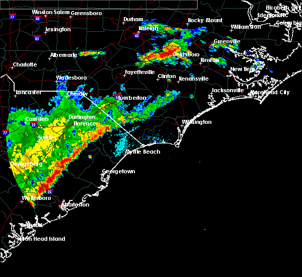 Radar Image for Severe Thunderstorms near Fair Bluff, NC at 7/2/2015 7:25 PM EDT