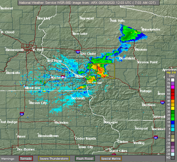 Radar Image for Severe Thunderstorms near Hatfield, WI at 8/10/2020 7:06 AM CDT