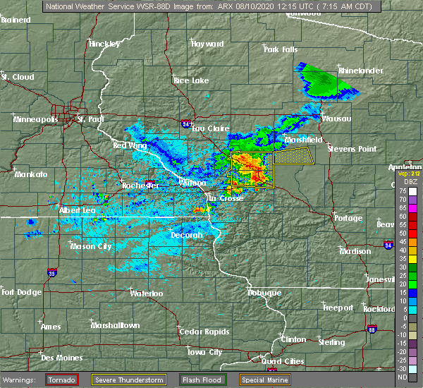 Radar Image for Severe Thunderstorms near Mauston, WI at 8/10/2020 7:23 AM CDT