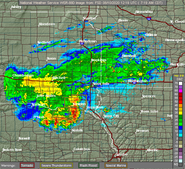 Radar Image for Severe Thunderstorms near Volin, SD at 8/10/2020 7:25 AM CDT