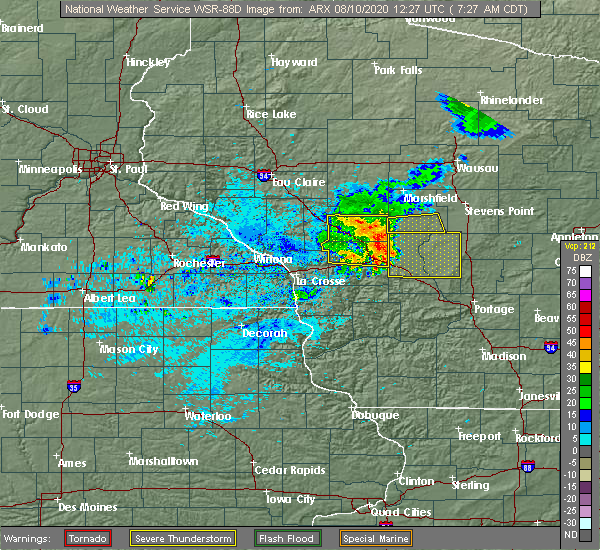 Radar Image for Severe Thunderstorms near Hatfield, WI at 8/10/2020 7:31 AM CDT