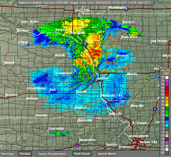 Radar Image for Severe Thunderstorms near Washington, NE at 8/10/2020 8:56 AM CDT