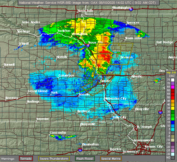 Radar Image for Severe Thunderstorms near Bellevue, NE at 8/10/2020 9:04 AM CDT