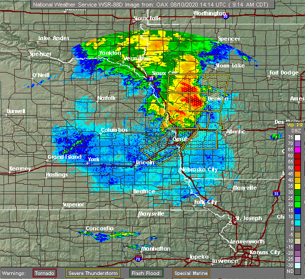 Radar Image for Severe Thunderstorms near Omaha, NE at 8/10/2020 9:20 AM CDT