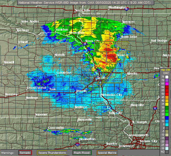 Radar Image for Severe Thunderstorms near Syracuse, NE at 8/10/2020 9:28 AM CDT
