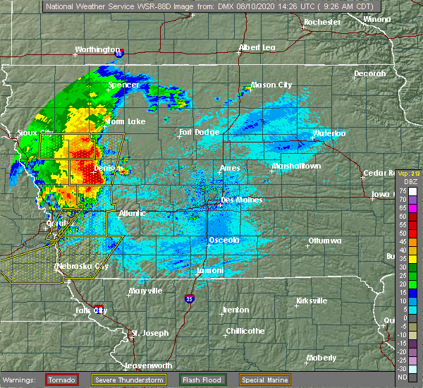 Radar Image for Severe Thunderstorms near Alta, IA at 8/10/2020 9:29 AM CDT