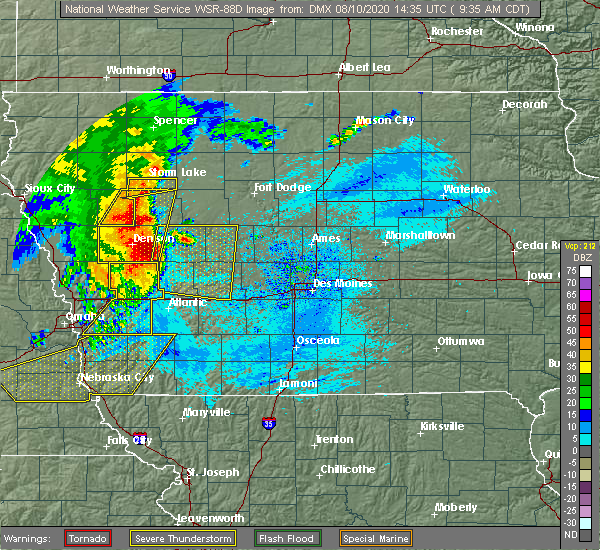 Radar Image for Severe Thunderstorms near Greenfield, IA at 8/10/2020 9:42 AM CDT
