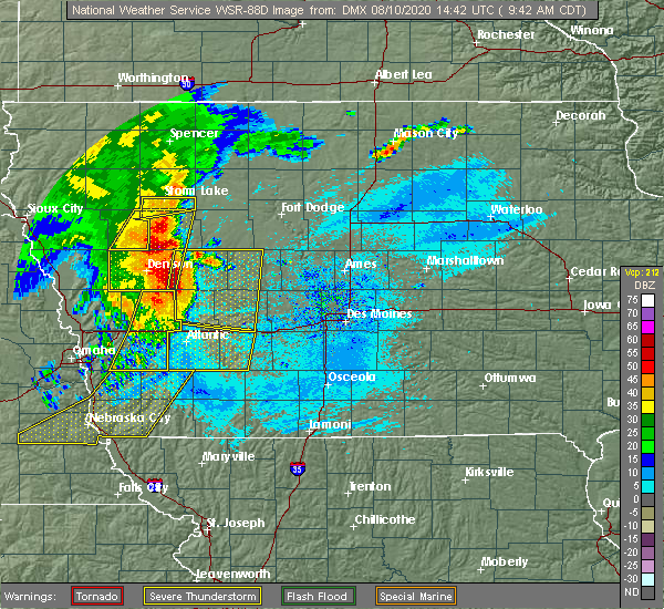 Radar Image for Severe Thunderstorms near Wall Lake, IA at 8/10/2020 9:49 AM CDT