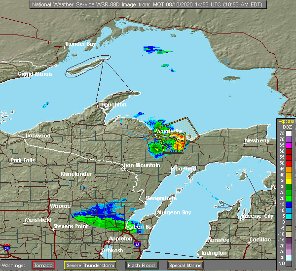 Radar Image for Severe Thunderstorms near Munising, MI at 8/10/2020 10:58 AM EDT