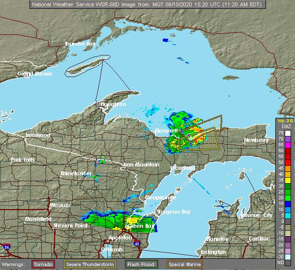 Radar Image for Severe Thunderstorms near Munising, MI at 8/10/2020 11:24 AM EDT