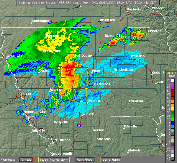 Radar Image for Severe Thunderstorms near Carlisle, IA at 8/10/2020 10:42 AM CDT