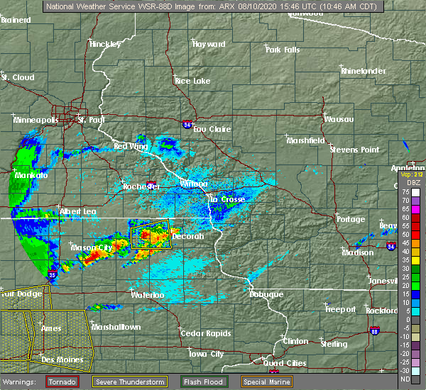 Radar Image for Severe Thunderstorms near Calmar, IA at 8/10/2020 10:50 AM CDT