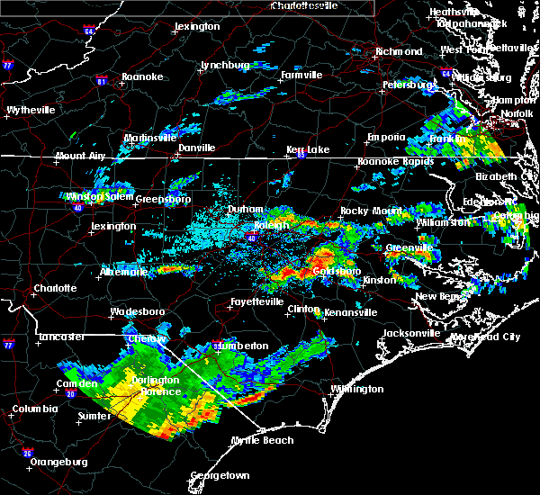 Radar Image for Severe Thunderstorms near Mount Olive, NC at 7/2/2015 7:37 PM EDT