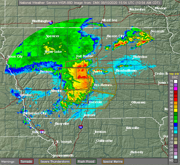 Radar Image for Severe Thunderstorms near De Soto, IA at 8/10/2020 11:01 AM CDT