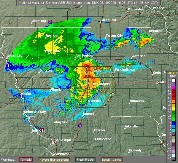 Radar Image for Severe Thunderstorms near Des Moines, IA at 8/10/2020 11:15 AM CDT