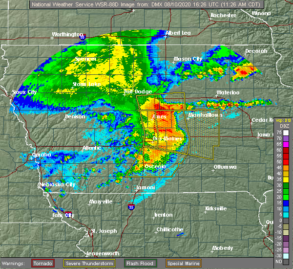 Radar Image for Severe Thunderstorms near Pleasantville, IA at 8/10/2020 11:31 AM CDT