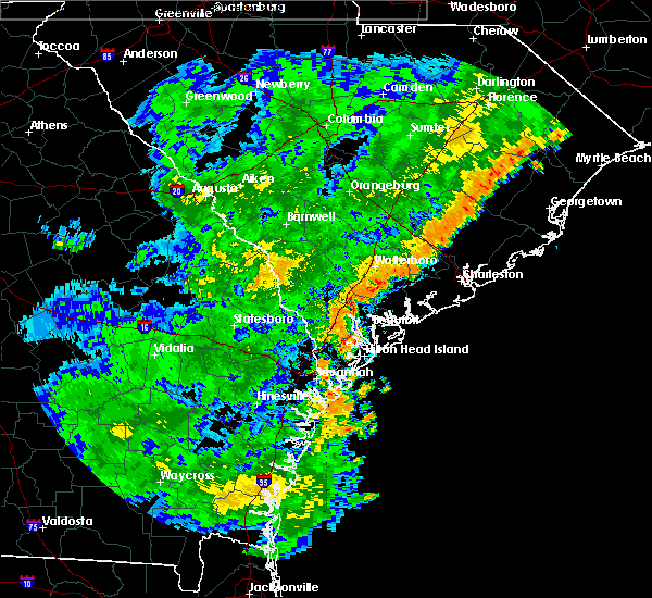 Radar Image for Severe Thunderstorms near Kiawah Island, SC at 7/2/2015 7:38 PM EDT