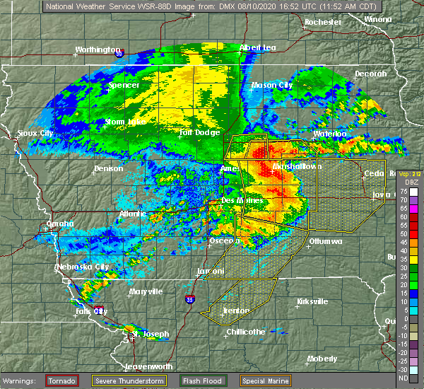 Radar Image for Severe Thunderstorms near Melrose, IA at 8/10/2020 11:58 AM CDT